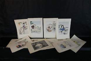 12 Japanese Woodblock Prints