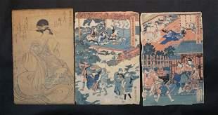 Lot of 3 Japanese Woodblock Prints
