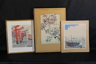 Three Signed Woodblock Prints, Japanese