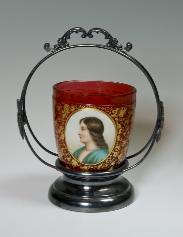 4: Glass Top with Porcelain Plaques. One portrait of a