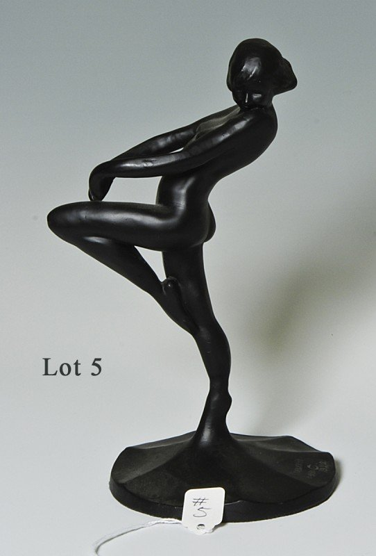 "5: Frank Art 1920 Statue of a Nude, 9"" tall, very good"