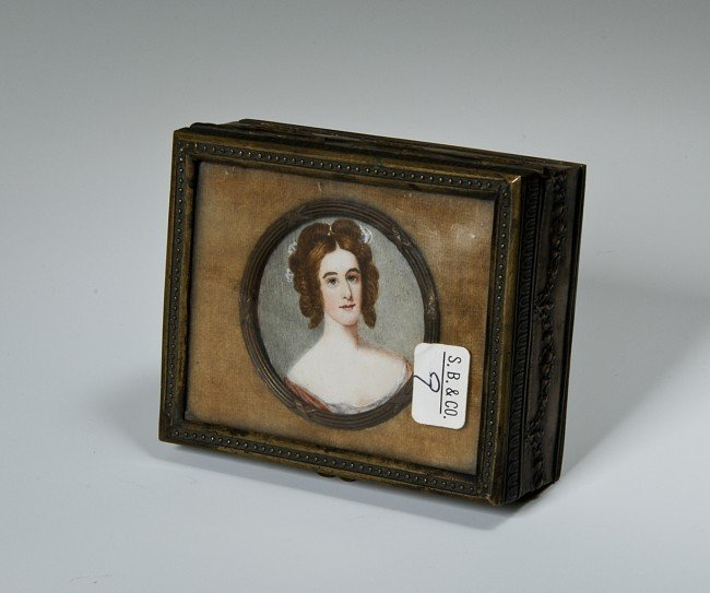 9: Bronze Box with hand painted portrait of a woman ins
