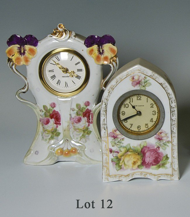 "12: Lot of 2 porcelain table clocks. 1) 5.75"" gothic Ne"