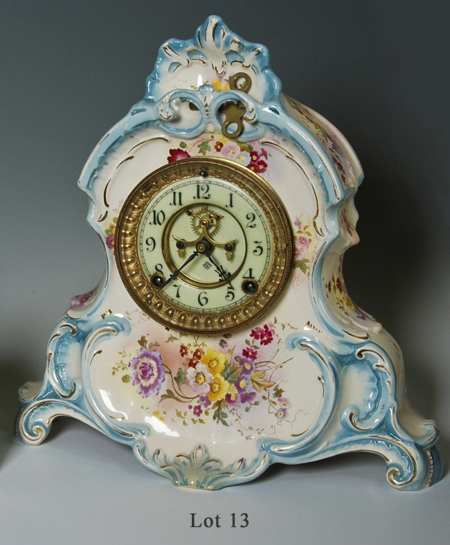 13: Ansonia Mantle clock, porcelain, late 19th Cent., v