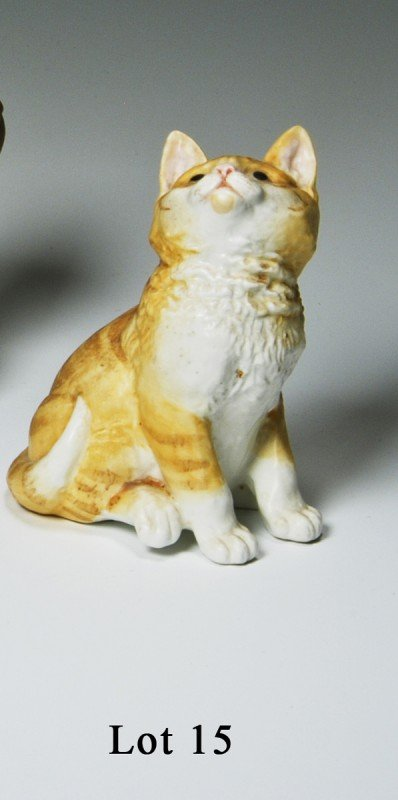 15: Royal Worcester Kitten, made in England black mark,