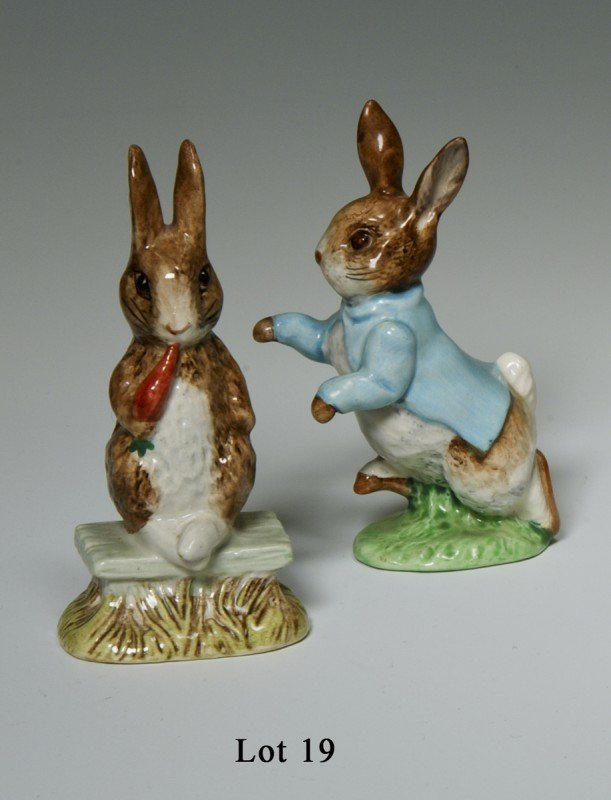19: Beatrix Potter figurines. 1) Fierce bad rabbit, 197