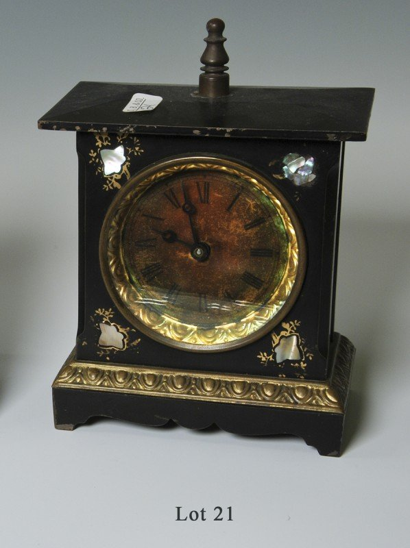 21: Table Clock, painted iron & mother of pearl with be