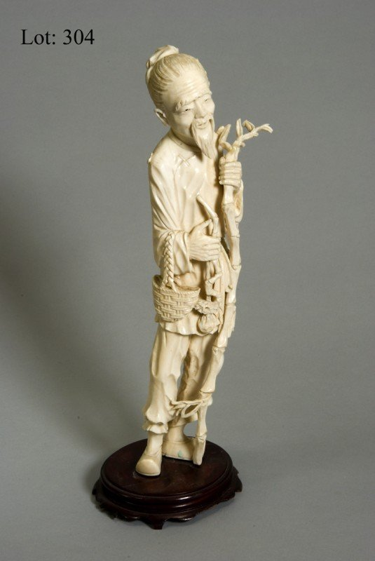 "1304: Ivory or bone figure of a ""Gatherer"" 13"" tall [ha"