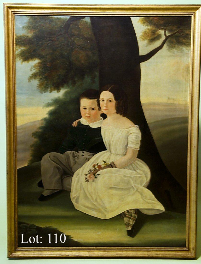110: American School Folk Art Oil