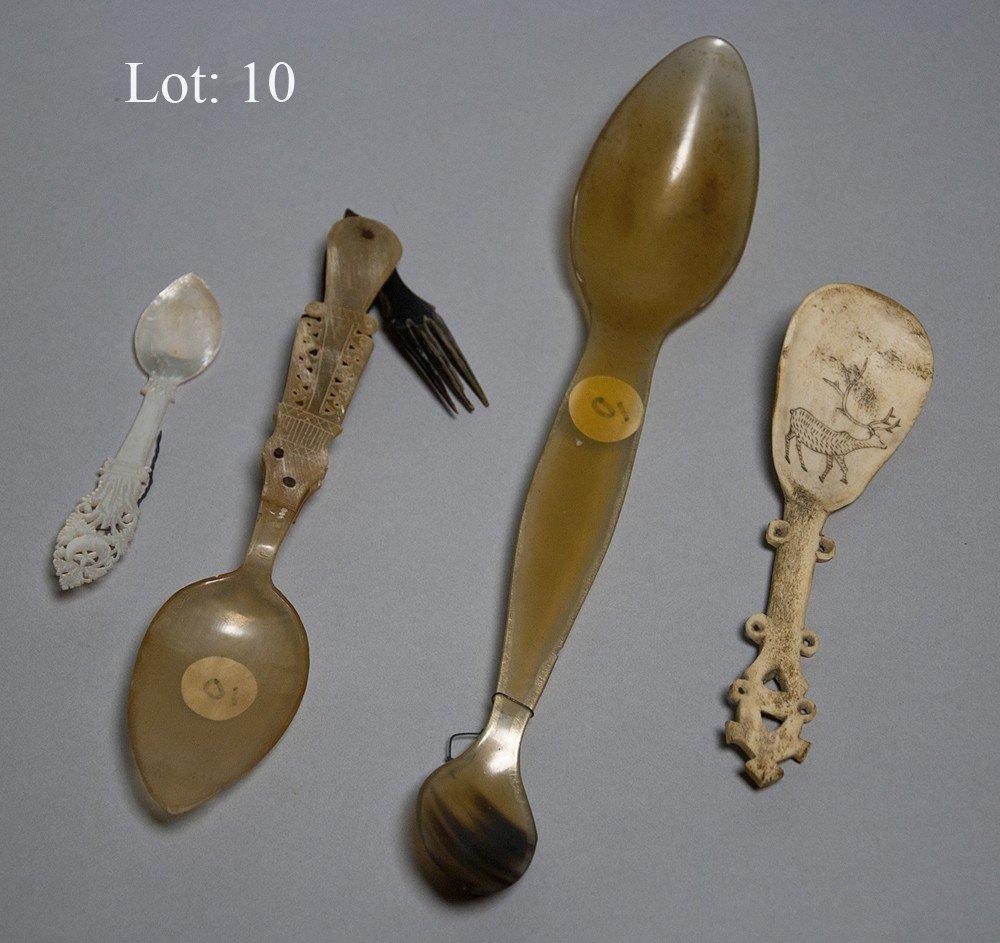 10: Lot of 4 carved utensils