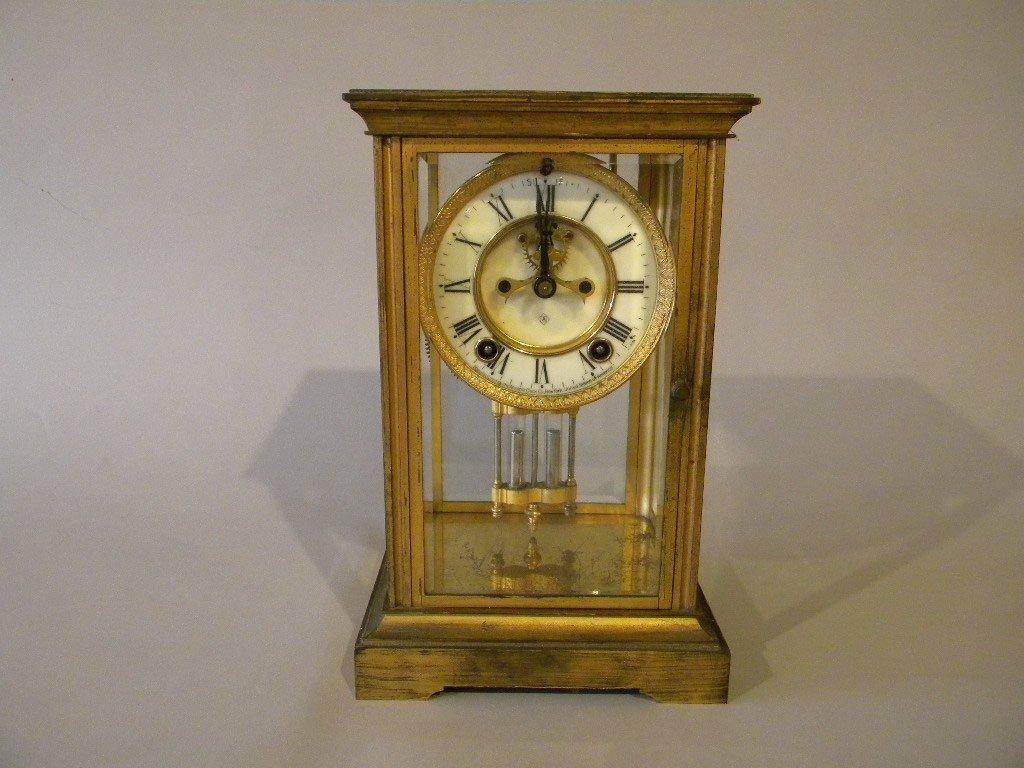 2: Ansonia Mantle clock with mercury pendulum and bevel