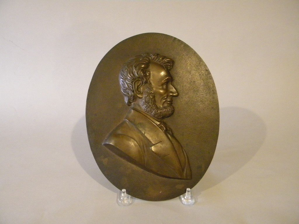 """12: Bronze plaque of Lincoln by """"The Metallic Compress"""
