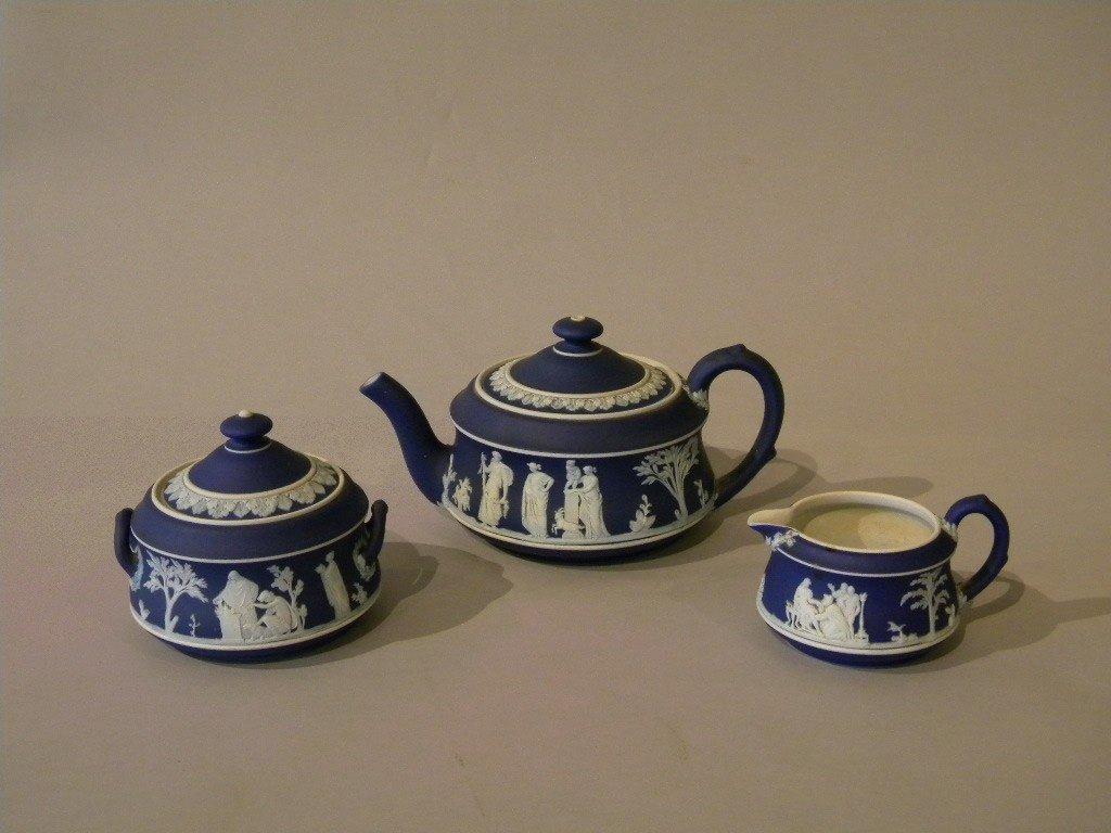 16: Wedgwood dark blue basalt sugar, creamer, and teapo