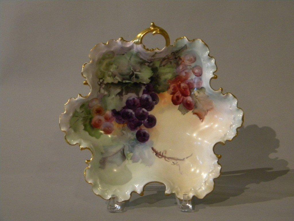 21: European porcelain fruit bowl with hand ptd grapes