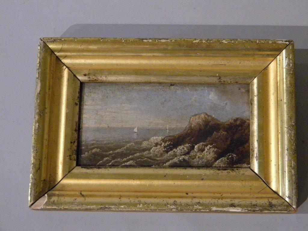 69: oil on artist board, seascape, unsigned in lemon gi
