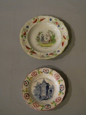 Lot Of 2 Soft Plate Porcelain Plates, 19th Century