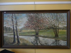 Oil On Canvas Initialed S.R. Landscape Size Is 21