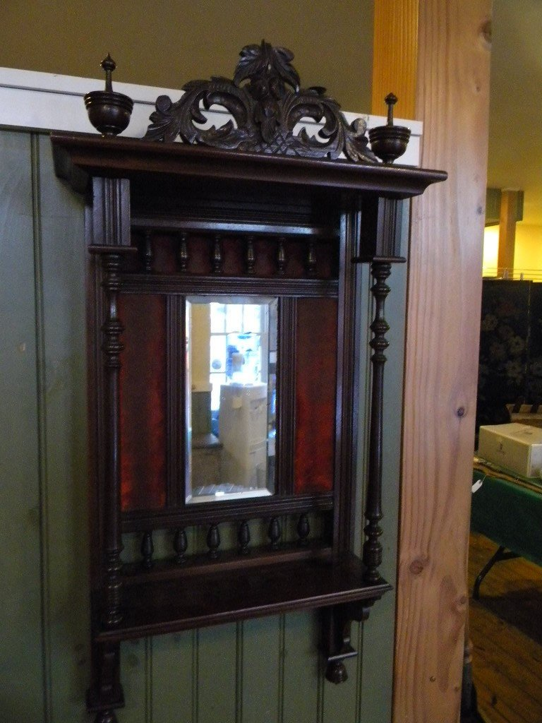 121: Victorian walnut wall shelf w/bevelled glass mirro