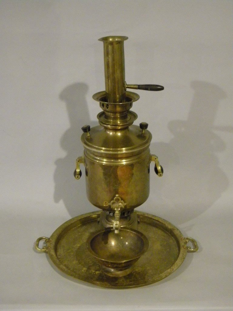 "125: Russian Samovar, brass on copper, height is 19"" ha"