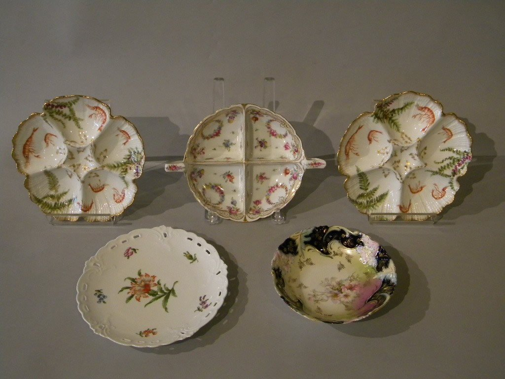"127: lot of 5 pcs of porcelain1.hd painted 7"" german bo"