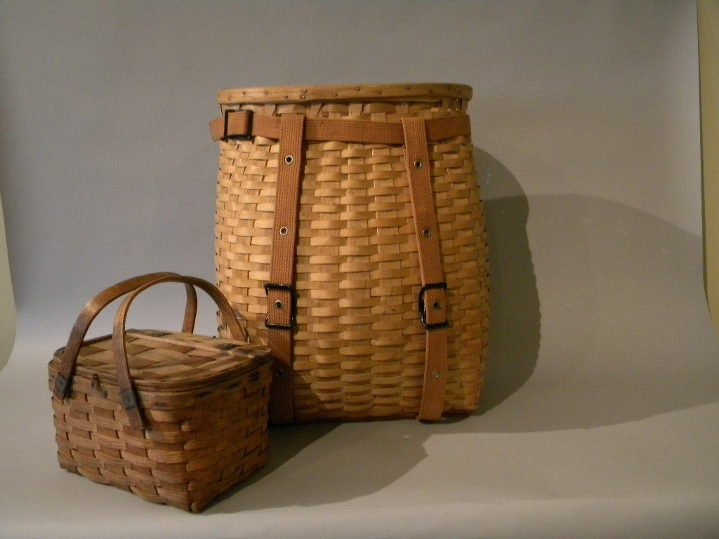 135: Early L.L. Bean harvest basket and small childs ba