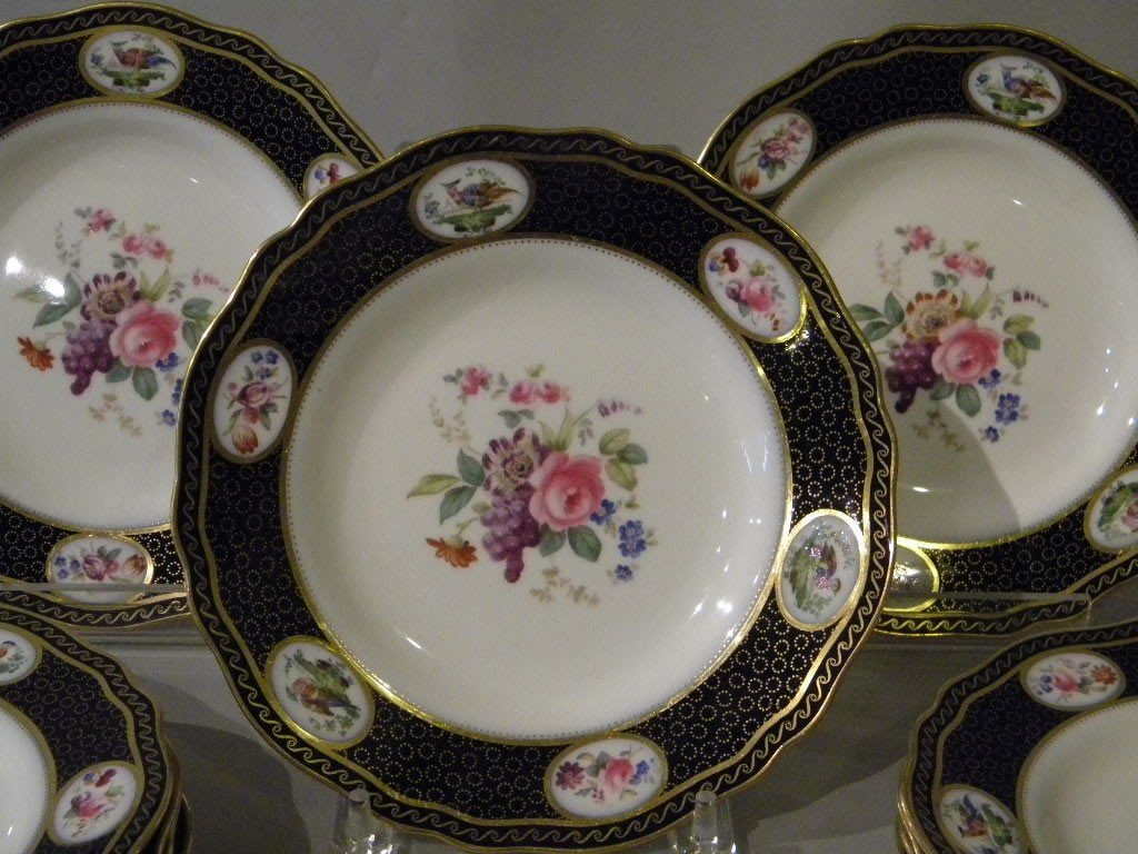 138: Spode for Tiffany set of 12 cobalt and floral dinn