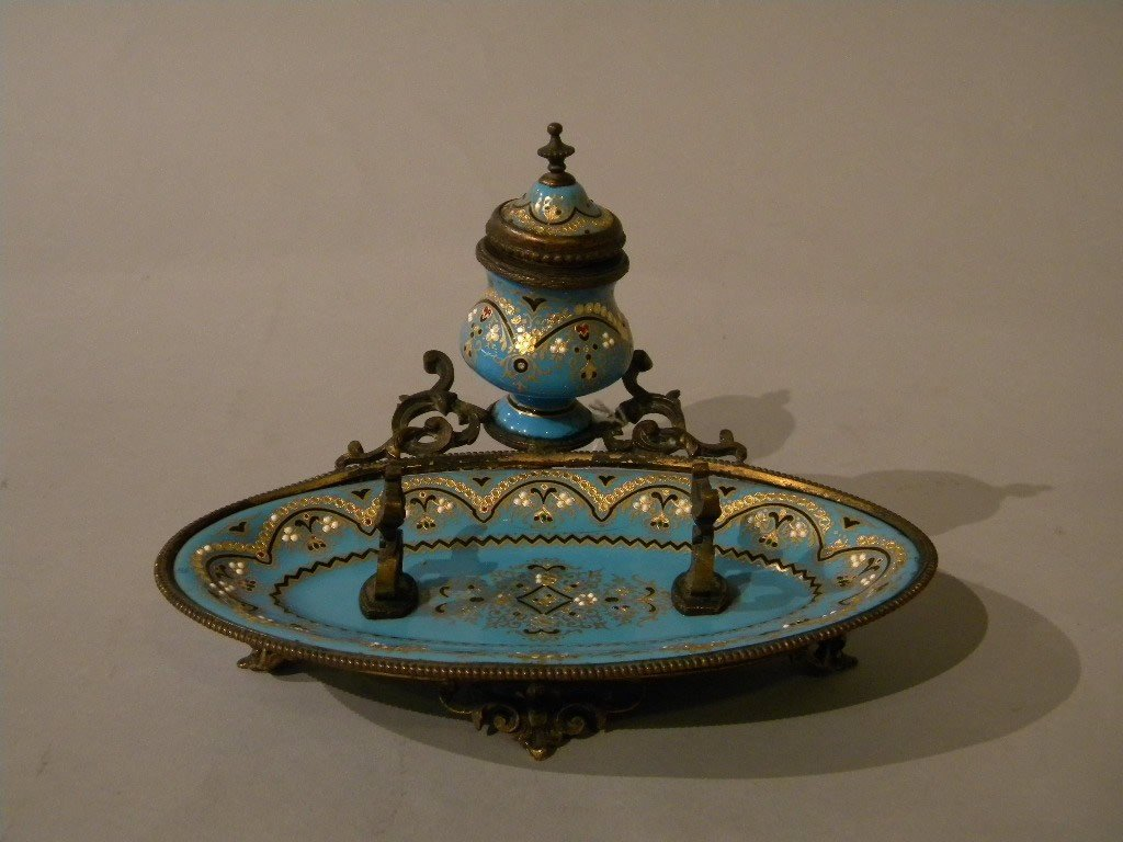 140: European enamel and bronze pen and ink tray, 4 1/2