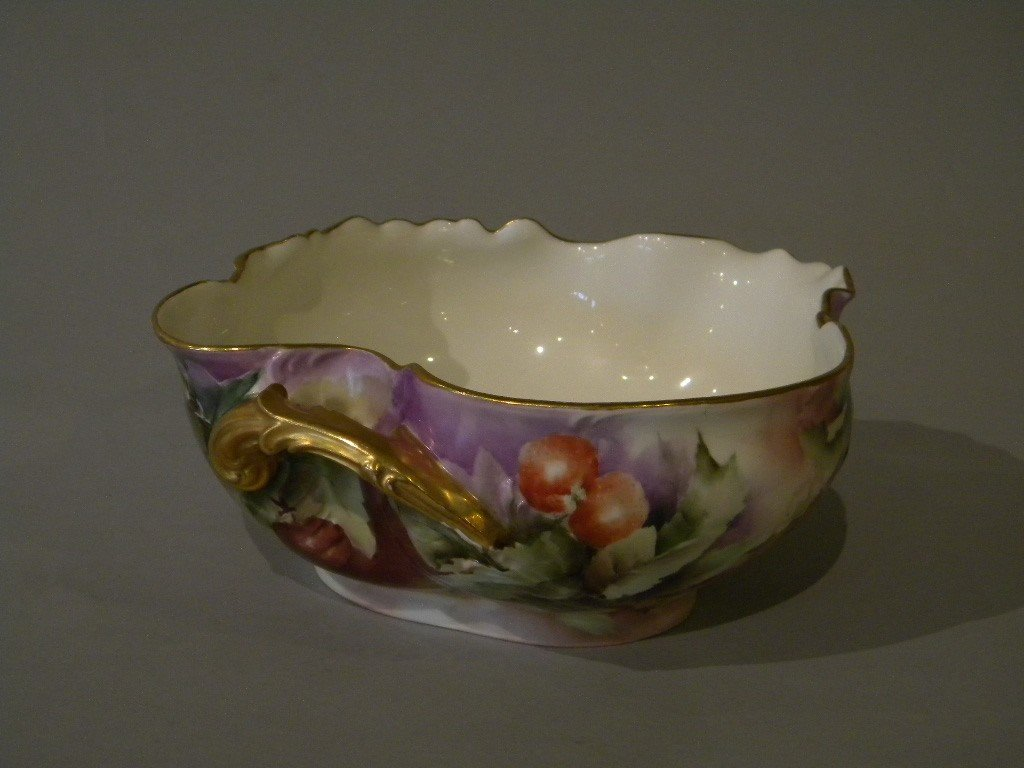 142: Haviland fruit bowl hand ptd Berry design 10 1/4""
