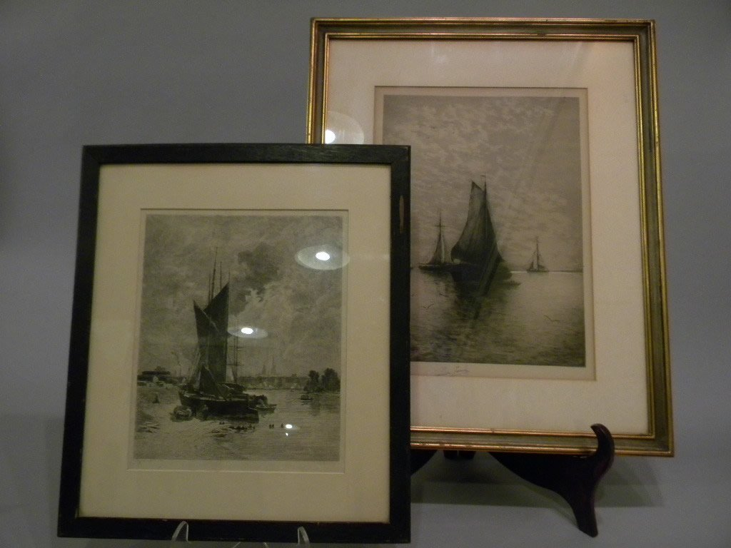 23: lot of 2 boat etchings