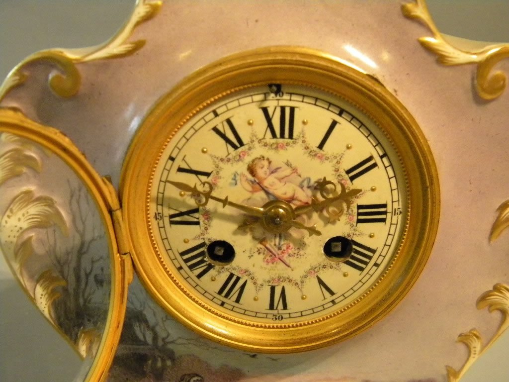 1: French Porcelain Mantle Clock