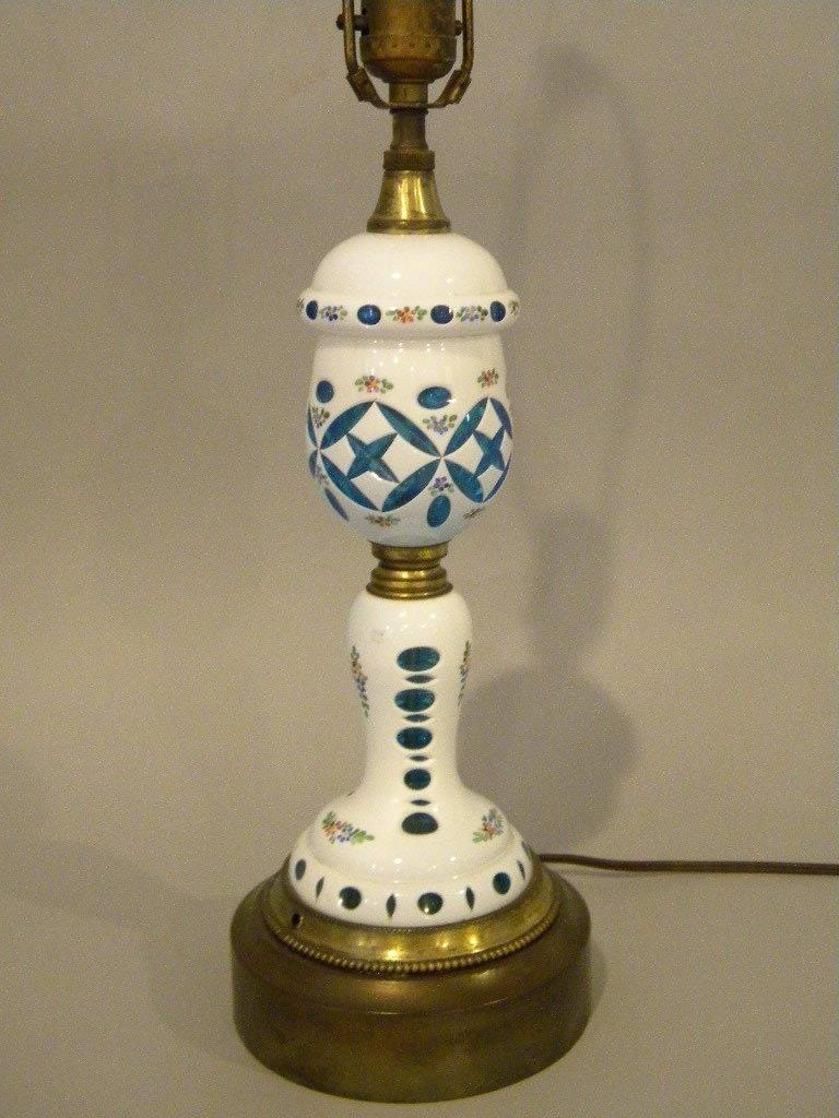 Milk Glass Overlay Lamp