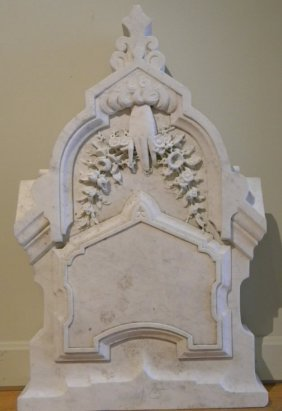 19th Century Carved White Marble Unused Memorial