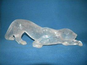 Lalique Leopard Figurine