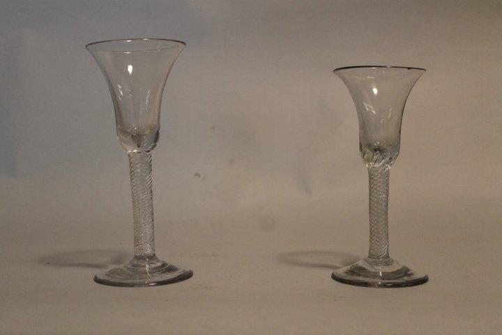 8. 2 18th century ribbon twist glasses