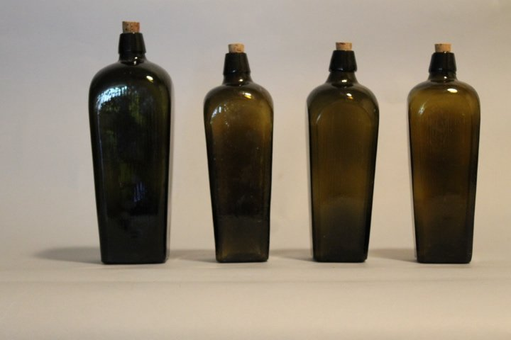 21. 4 early square tappered bottles