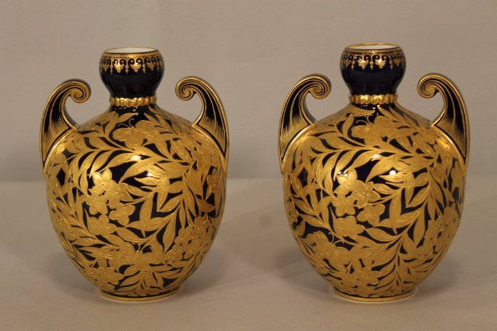 Pr. of European Cobalt & Gold Gilt Vases