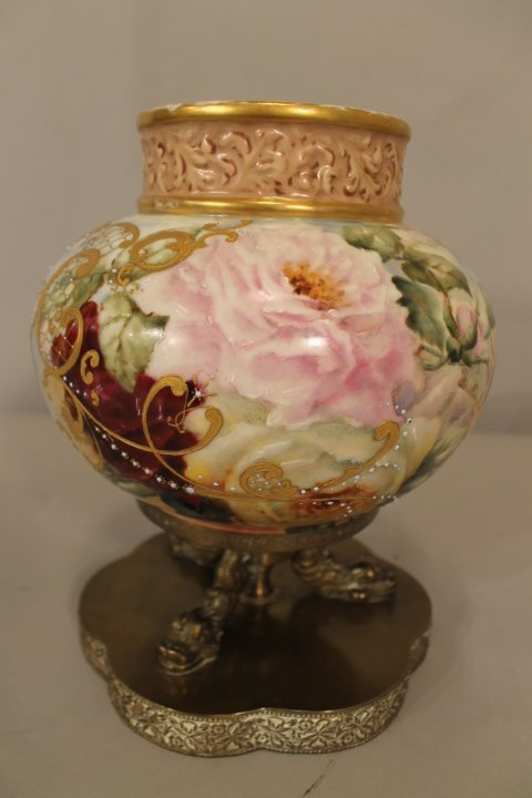 Porcelain Hand Ptd Floral Vase on Brass Stand