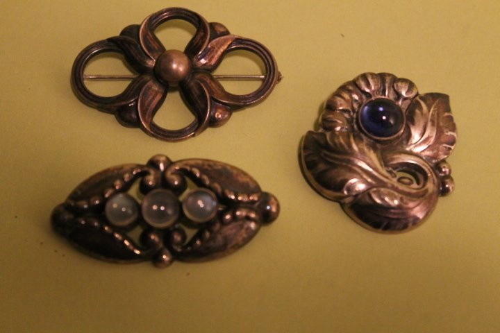 3 Georg Jenson Sterling Brooch Pins