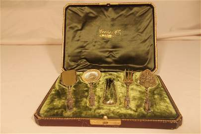 French Silver 5 pc Serving Set in Original Box