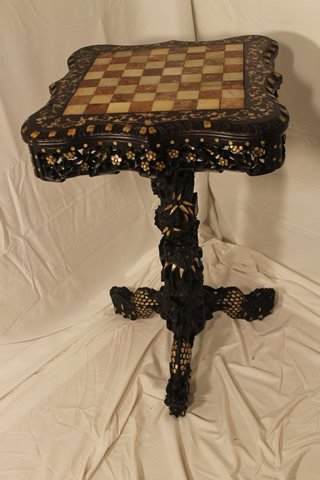 Checkerboard Top Game Table w/MOP Inlay