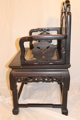 Signed Chinese Throne Chair - 4