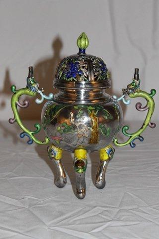 Chinese Censer, Silver & Enamel