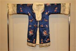 Silk Embroidery & Fur Chinese Robe Early 20th Cent