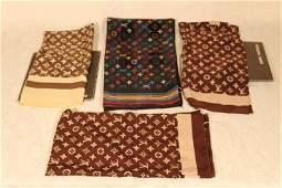 Four Louis Vuitton Silk Scarves