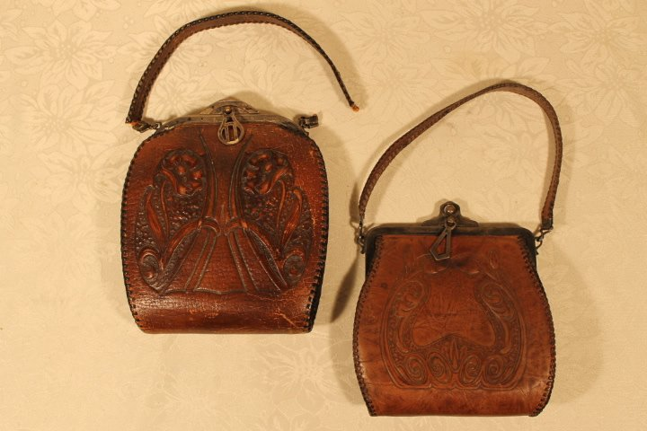 Two Tooled Leather Arts & Crafts Purses