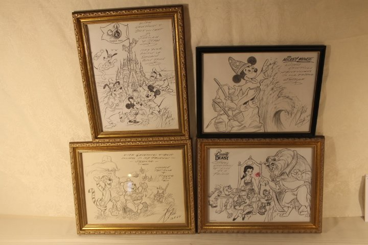 Lot of 4 Disney Sketches by Animator Harry Holt