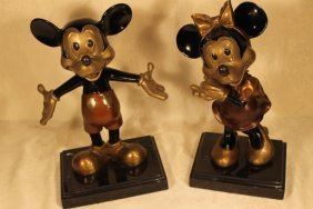 Pair Of Painted Bronzes Of Mickey & Minnie