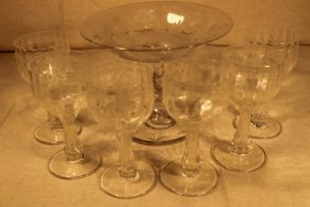Libby Footed Compote & 6 Unsigned Stemware