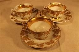 3 Meissen Cups & Saucers