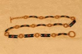 Gucci Enamel & Gold Toned Ladies Belt